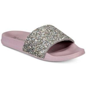 INC Glitter Pool Slides Slippers Purple Small 5-6